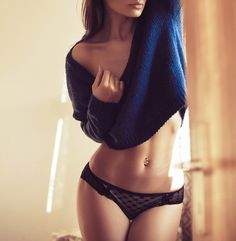 i love a sweater and lingerie!