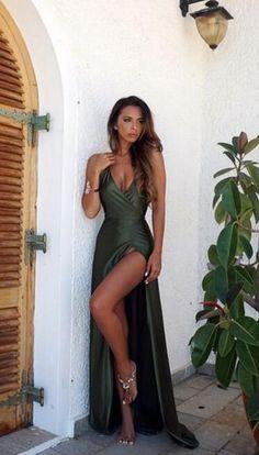 Split Prom Dress,Fashion Prom Dress,Cheap Prom Dress,Deep V