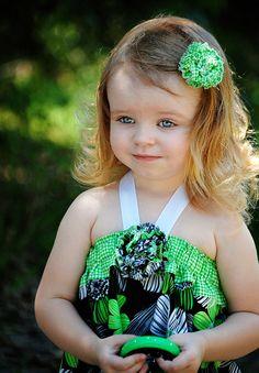 Little Girls Dress  Green Floral Print
