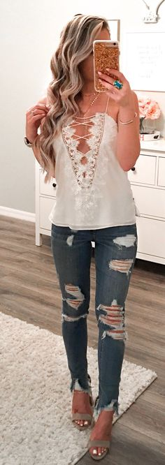 #spring #fashion White Laced Up Blouse & Ripped Skinny Jeans