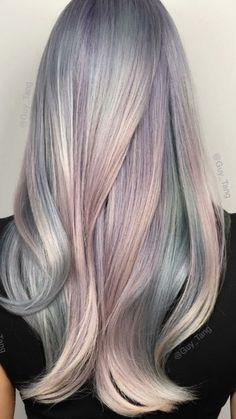 Opal hair color with mother of pearl by Guy Tang. Opal Hair, Candy Hair, Grunge Hair, Mermaid Hair, Gorgeous Hair, Amazing Hair, Pretty Hairstyles, Gray Hairstyles, Updo Hairstyle