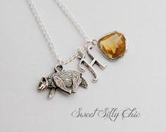 Hufflepuff Inspired Short Necklace, Harry Potter Hogwarts House Necklace, Harry Potter Jewelry, Yellow Topaz Badger Necklace