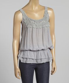 Look at this Silver Crocheted Blouson Tank on #zulily today!