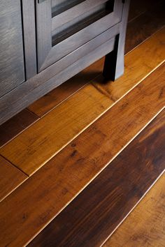 The floor throughout the condo was replaced with an FSC certified red maple engineered flooring from EcoHaus.