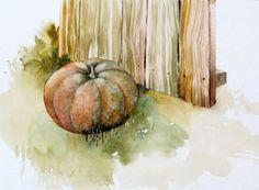 Citrouille Original Art peinture  aquarelle paysage par FluidColors