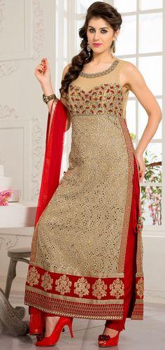 USD 190.95 Beige Net Pakistani Salwar Kameez 43785