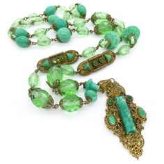 Vintage Art Deco Czech Peking Glass Bead Ornate Filigree Flapper Necklace   Clarice Jewellery   Vintage Costume Jewellery