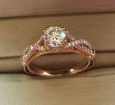 Verragio Parisian Collection 18k Rose Gold Twist Band Engagement Ring