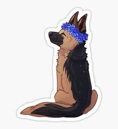'German Shepherd' Sticker by Galaxtea Cartoon Dog, Cartoon Drawings, Animal Drawings, Cute Drawings, German Shepherd Tattoo, German Shepherd Dogs, Preppy Stickers, Cute Stickers, Tumblr Stickers