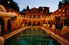 Bistro lights magically lit the pool area, where guests mingled throughout the night.