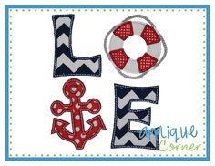 Love Anchor Square Applique Design