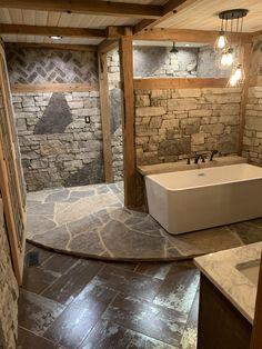 Natural stone walls, flagstone platform, curbless natural stone walk in shower Cabin Bathrooms, Rustic Bathrooms, Dream Bathrooms, Beautiful Bathrooms, Rustic Master Bathroom, Rustic Bathroom Designs, Bathroom Interior Design, Rustic Bathroom Shower, Dream Home Design