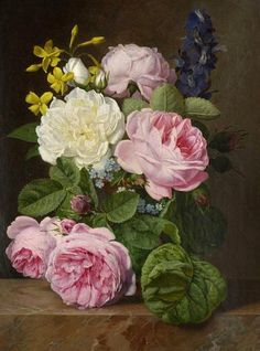 Antoine Chazal, Roses in a Vase, 1845 it is an original painting done using acrylic paints. It is painted in such a way that the brush stroke is not visible therefore making the painting look real and 3D