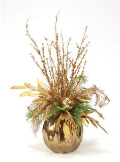 Increase the glam factor of your holiday décor with the gold design of the Distinctive Designs Golden Branches Artificial Plant . Purple Christmas Tree, Christmas Vases, Christmas Flower Arrangements, Gold Christmas Decorations, Holiday Centerpieces, Christmas Flowers, Christmas Tablescapes, Rustic Christmas, Christmas Wreaths