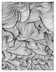 Textural Pattern - modern monochrome print design with swirls & twists conveying depth & movement // Rui Ribeiro
