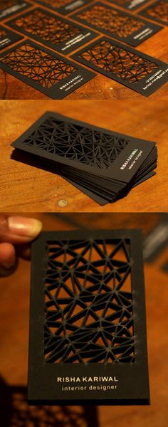 Intricate Laser Cut Black Business Card by Smriti Kariwal - Business Design Id Card Design, Graphisches Design, Print Design, Logo Design, Card Designs, Design Cars, Black Business Card, Die Cut Business Cards, Corporate Design