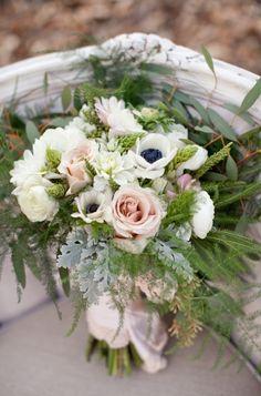 Rose, anemone, and greenery bouquet. #bouquet #pinkandwhitebouquet #weddingchicks Floral Design: Penny Blooms Floral Design ---> http://www.weddingchicks.com/2014/05/05/little-women-woodland-wedding/