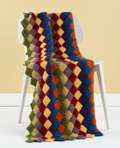 Tunisian Crochet Entrelac Throw
