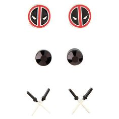 Marvel Deadpool Earrings 3 Pair Hot Topic ($6.80) ❤ liked on Polyvore featuring jewelry, earrings and earrings jewelry