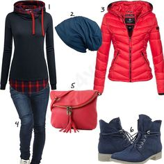 Dunkelblau-Rotes Damen-Outfit mit Steppjacke (w0598) #ootd #outfit #style #fashion #womenswear #womensfashion #outfits4you #damenoutfit #frauenoutfit #outfit2017 #inspiration #womensstyle #damenmode #frauenmode #mode #sneaker