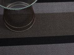 CHILEWICH COLOR COLLECTION | PRECIOUS METALS | SHAG INDOOR/OUTDOOR MAT IN SILVER/BLACK BOLD STRIPE