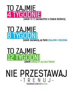 nie przestawaj- trenuj na Bądź Fit--->Dieta--->Trening--->FitnesSs - Zszywka. Work Motivation, Fitness Motivation, Personal Trainer Website, Motivational Quotes, Inspirational Quotes, Yoga Routine, Better Life, Excercise, Stay Fit