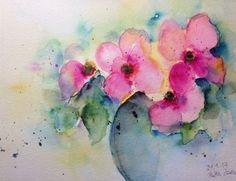 """Aquarell , """" Blumenstrauss """", Blumen , 17 x 24 cm , Unikat"""