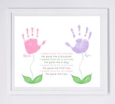 Handprint Art Forever Prints. Flower by MyForeverPrints on Etsy