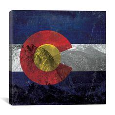 iCanvas Colorado Flag, Pikes Peak with Omo Film Grunge Graphic Art on Canvas