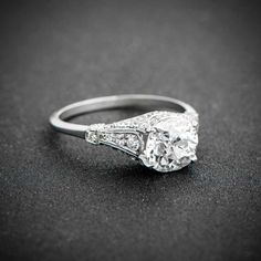 A stunning and rare old mine cut diamond antique engagement ring. Sold by Estate Diamond Jewelry