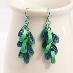 Peacock Dangle Chain Eco Friendly Earrings  by Honey's Hive