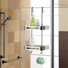 Awesome Over the Door #Shower Shelves for Soap And $Shampoo. Sanliv #showercaddy simply hangs over a #showerdoor or #showerscreen to provide essential #bathroomstorage.