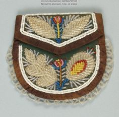 Wabanaki beaded purse, ca. 1870. Indians throughout the Northeast copied beading styles and traded objects, making it difficult to attribute beadwork to specific tribes. The purse may have been made by a member of the Penobscot, Passamaquoddy, Micmac, or Maliseet tribes, which are collectively referred to as Wabanaki. Item # 23504 on Maine Memory Network