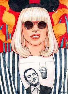 Watercolor illustration of lady gaga by illustrator / artist helen green Watercolor Artists, Watercolor Illustration, Watercolour, Andy Warhol, Helen Green, Pop Art, Jazz Art, Little Monsters, Pop Punk