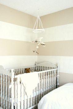 chic beige & cream stripe nursery