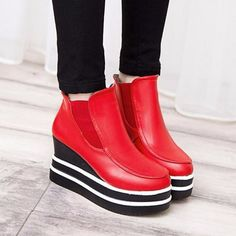 Platform Ankle Stripe Ankel Slip On Waterprooof Boots - Gchoic.com #shoes #fashion #boots #popular #discount #cheap #under20 #warm #winter