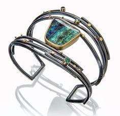 Boulder Opal & Emerald Twig cuff by Sydney Lynch