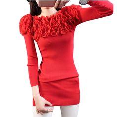 Women's Slash Neck Slim Knitted Tops Pullovers female 2017 Spring fall ladies Medium Long Sweaters Bodycon Basic Knitwear AA551
