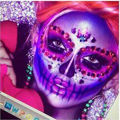 glam sugar skull make-up.  Super cute for halloween!!