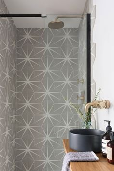 A shower room that we designed to be different for the rest. We had some fun with the 'Lily pad tiles in the Cloud finish on… Loft Bathroom, Family Bathroom, Downstairs Bathroom, Bathroom Flooring, Bathroom Faucets, Bathroom Interior, Small Bathroom, Bathroom Ideas, Tile Bathrooms