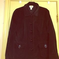 I just discovered this while shopping on Poshmark: Talbots black barn jacket…