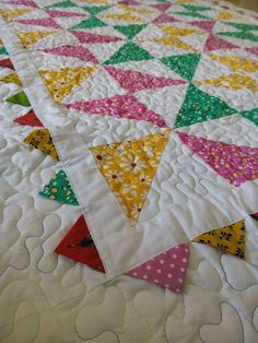 Baby quilt / Pink quilt / Yellow quilt / Patchwork/  by Qforquilts