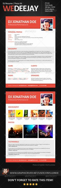 Minimalistix - DJ Resume \/ Press Kit Press kits, Dj and Template - dj resume
