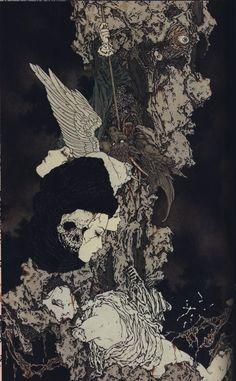 Illustration by Takato Yamamoto Art Inspo, Kunst Inspo, Inspiration Art, Tattoo Inspiration, Japanese Illustration, Art Et Illustration, Arte Horror, Horror Art, Fantasy Kunst