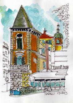 #italy #watercolor #sketchers #paints #rapallo #liguria #acuarela Una curiosa esquina del centro de Rapallo. acuarela 15x21 cm. en venta en mi sitio :  xcroquis.wixsite.com/xcroquis.