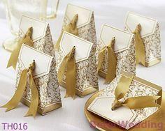 Utilisation de la boîte 60pcs TH016 de faveur de ruban d'or comme mariage, décoration de partie pour la sucrerie, chocolat, dates@ http://Shanghai-Beter.taobao.com