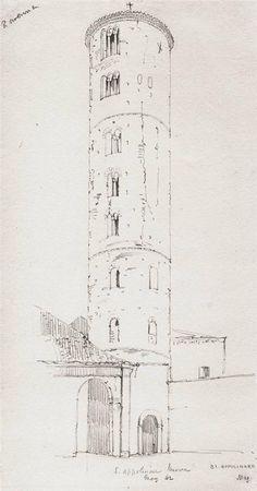 Chiesa S. Apollinare Nuovo Ravenna, particolare campanile  – schizzo lapis su carta, da taccuino viaggiatore inglese del 1842 – Raccolta personale.