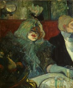 Tete-a-Tete Supper 1889 by Toulouse-Lautrec. The image shows Lucy Jourdan, a high-class prostitute in a cabinet particulier at the café- restaurant Le Rat Mot. It is suggested that the placement of the glass on the table opposite Jourdan was Lautrec's presence in the scene.