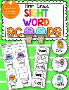 Sight Word Scoops Grade Edition) are a FUN and hands-on way to master and reinforce ALL of the Dolch first grade sight words! Kids get to col. Teaching First Grade, First Grade Reading, Student Teaching, Teaching Ideas, Teaching Materials, Teacher Resources, 1st Grade Activities, Sight Word Activities, Work Activities