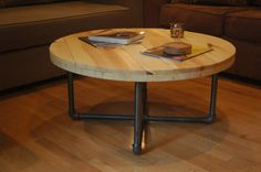 Industrial Round Coffee Table by RenatusDesigns on Etsy, $175.00
